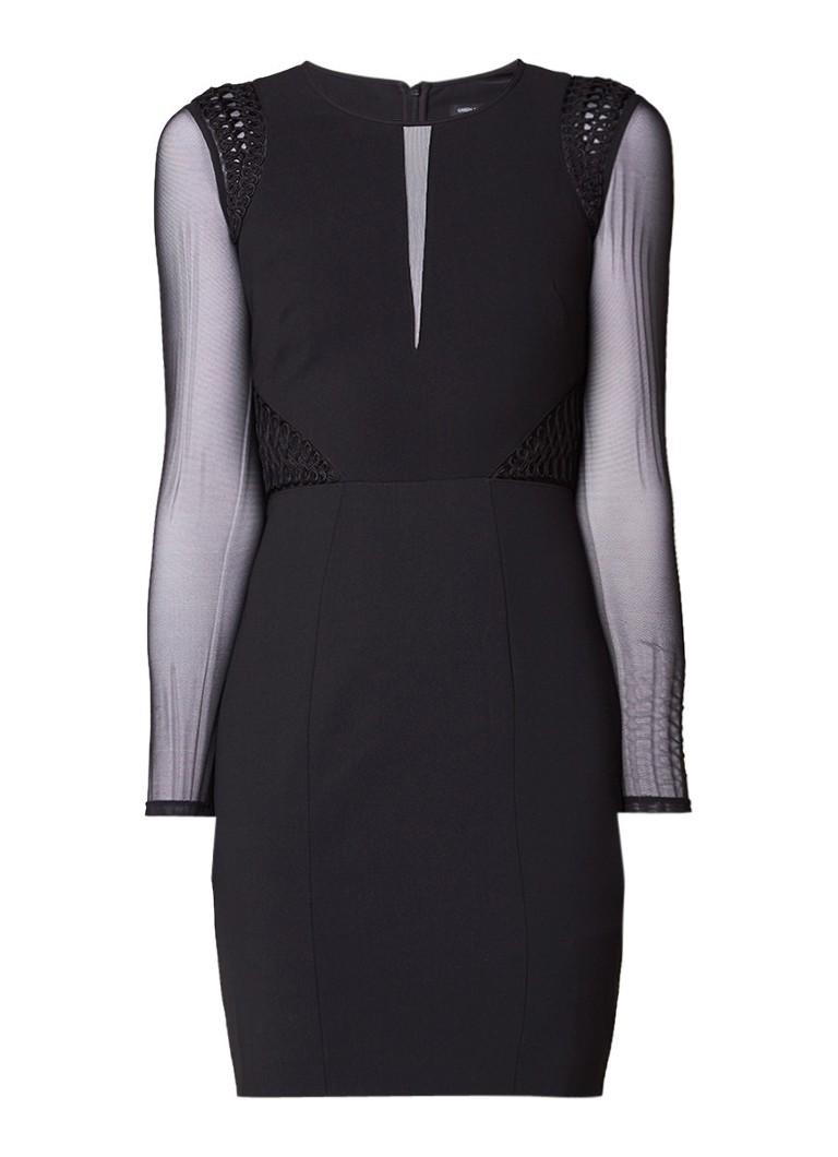 Karen Millen Bodycon jurk met mesh details en borduring zwart