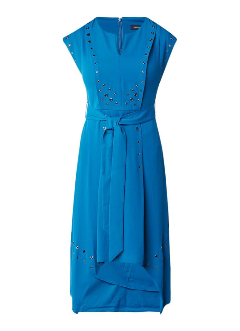 Karen Millen A-lijn jurk met strikceintuur en eyelets royalblauw