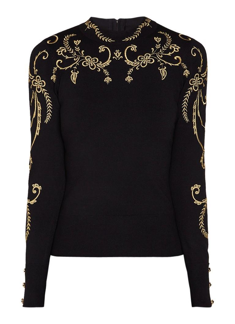 Truien en vesten Karen Millen Fijngebreide pullover met lurex borduring Zwart