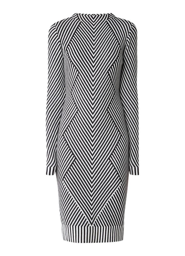 Karen Millen Gebreide midi-jurk met gestreept dessin zwart