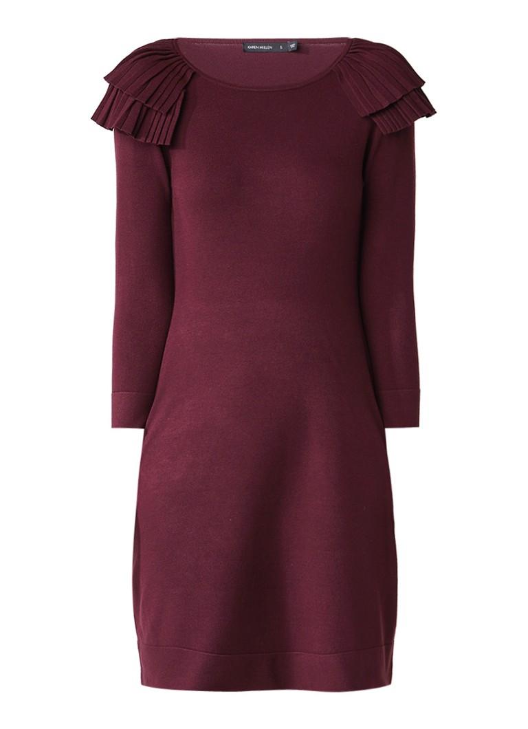 Karen Millen Victoriana gebreide A-lijn jurk met plooidetail aubergine