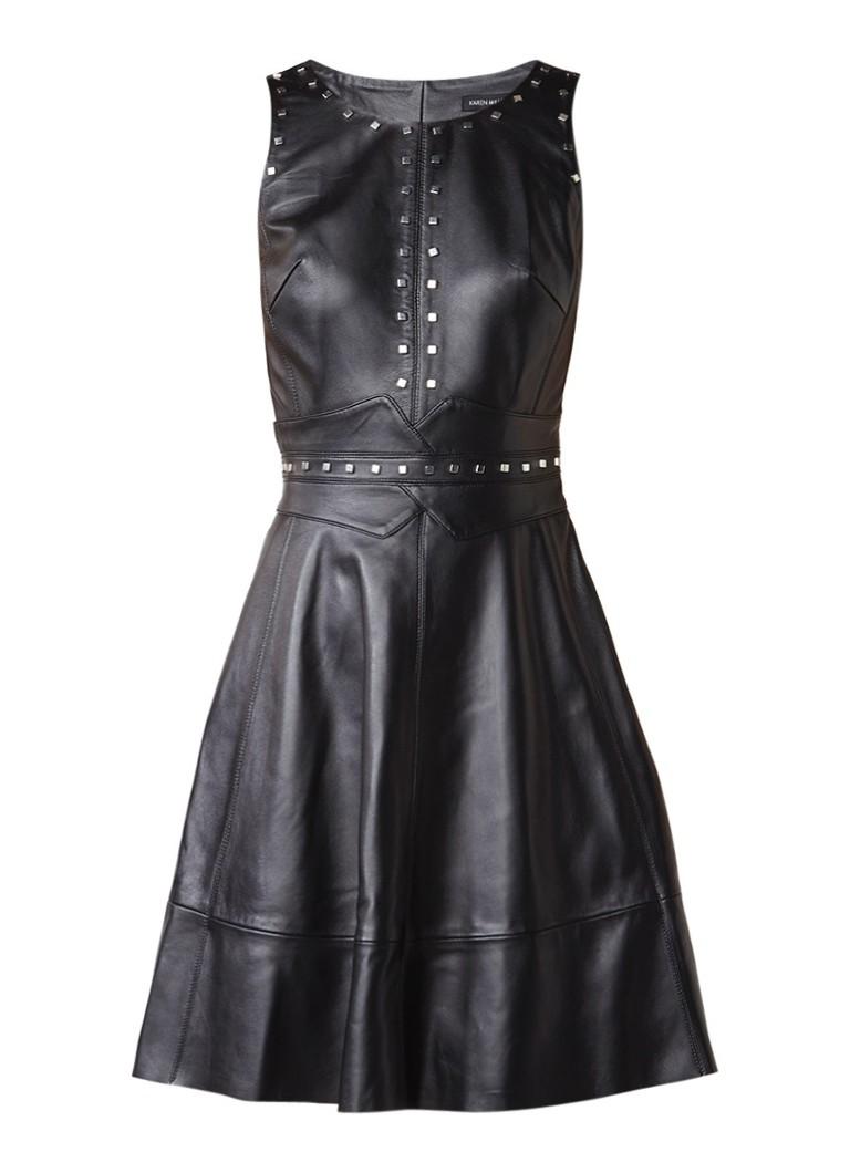 Karen Millen A-lijn jurk van leer met studs zwart