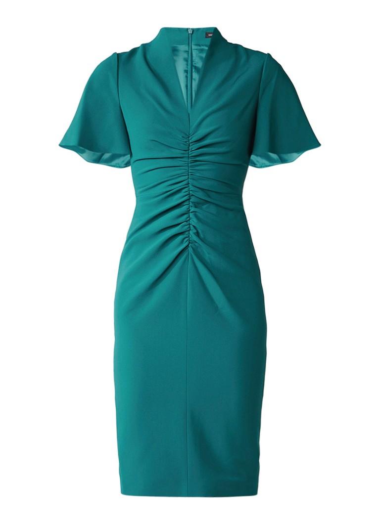 Karen Millen Midi jurk van crêpe met rimpeldetail petrol