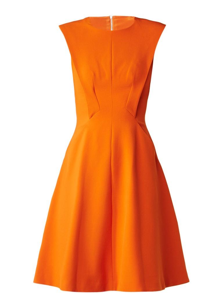 Karen Millen A-lijn jurk met steekzakken en stretch oranje