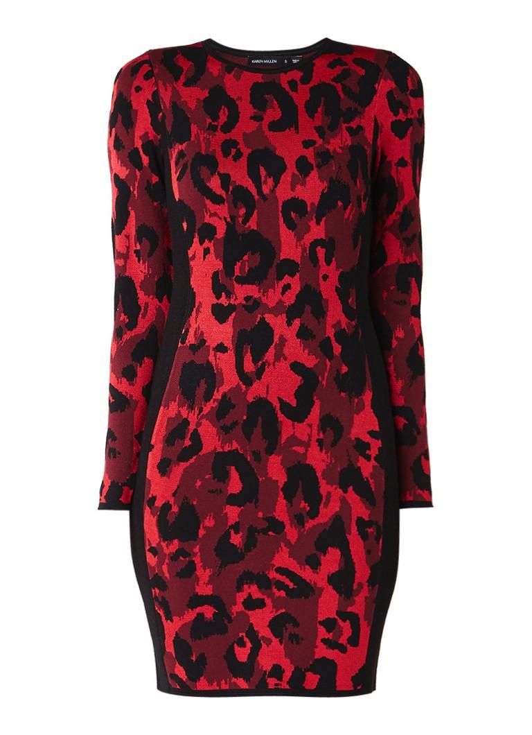 Karen Millen Fijngebreide bodycon jurk met ingebreid luipaarddessin rood