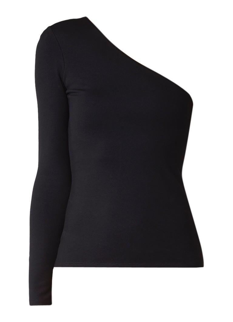 Karen Millen One shoulder top van jersey met lange mouw