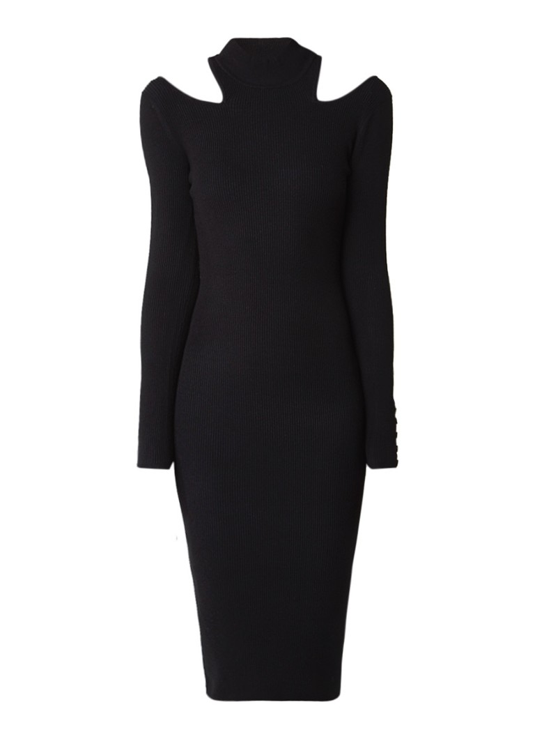 Karen Millen Ribgebreide cold shoulder jurk zwart