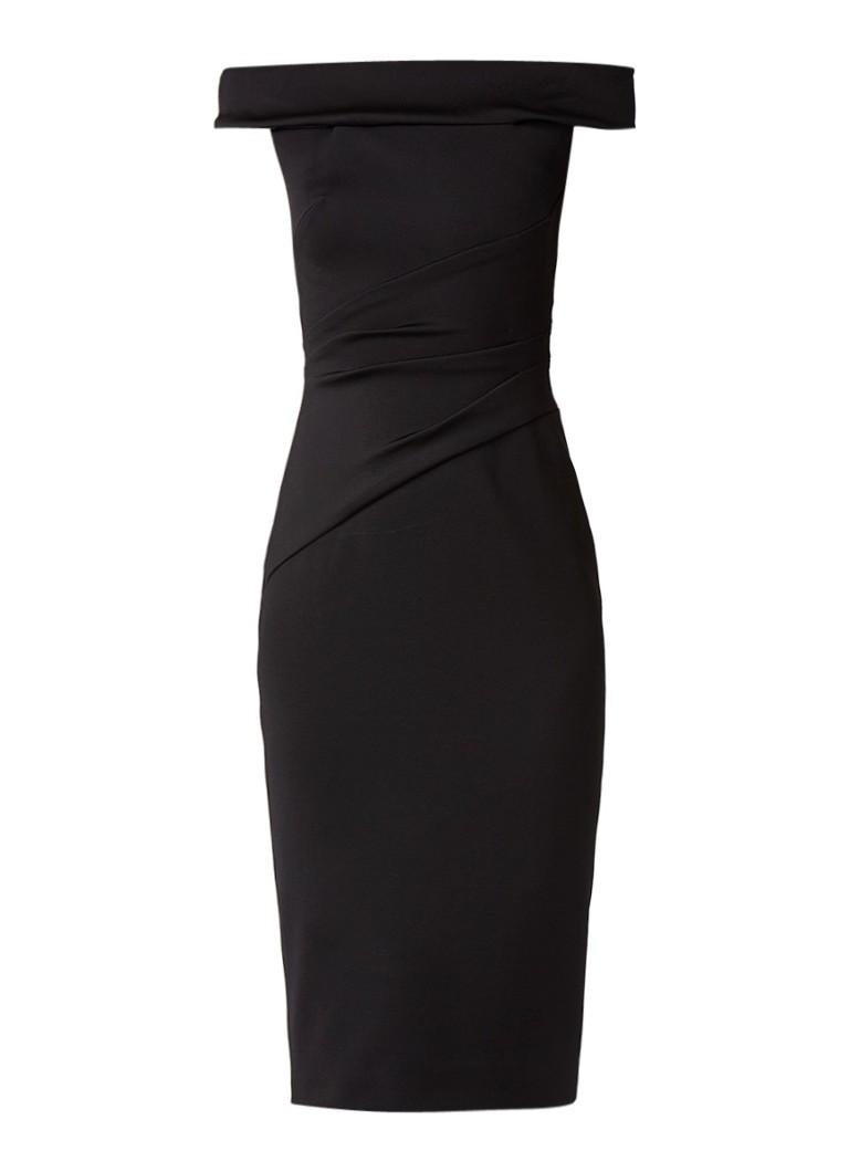 Karen Millen Off shoulder midi-jurk met achtersplit zwart