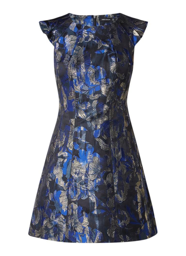 Karen Millen Dramatic A-lijn jurk met glansdraad kobaltblauw