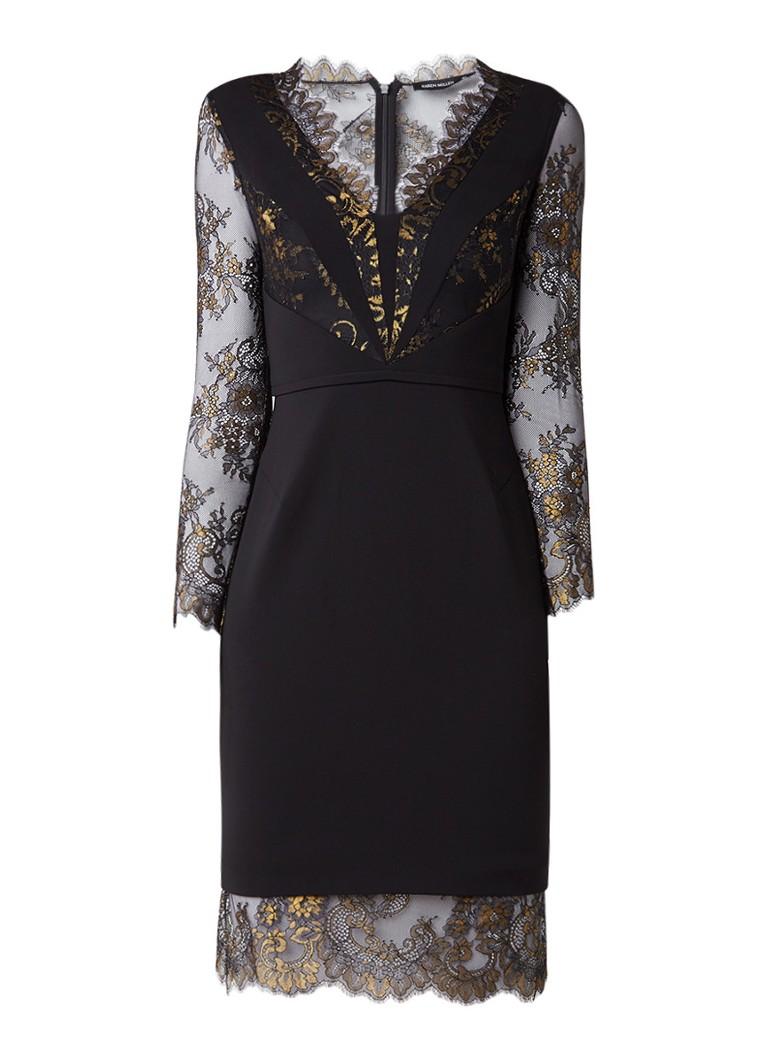 Karen Millen Bodycon jurk met details van kant en lurex zwart