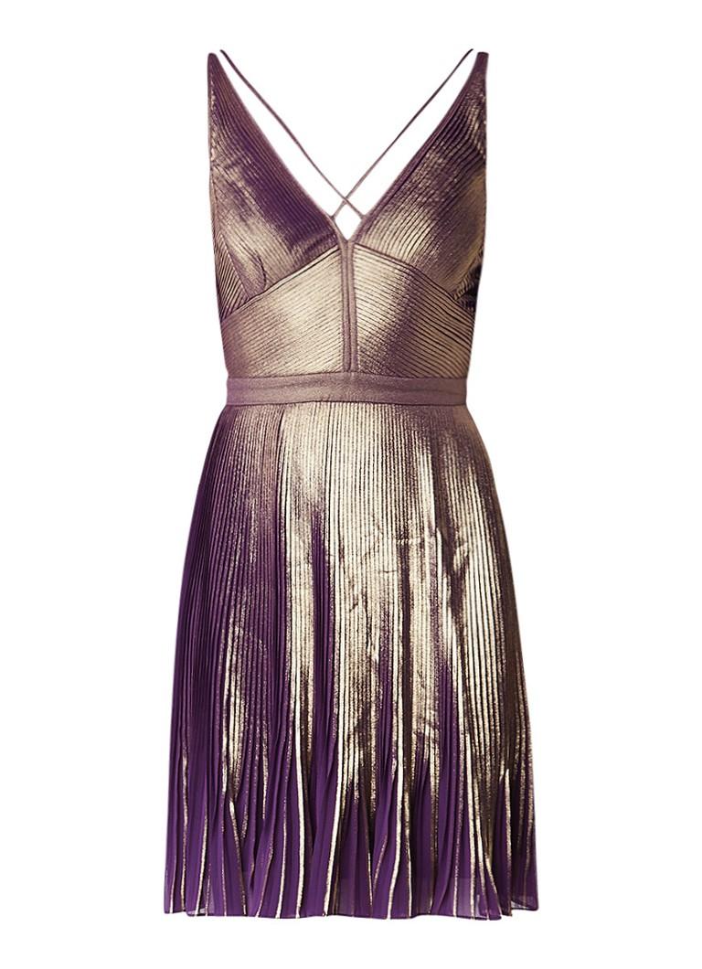 Karen Millen Mini-jurk met plissé en metallic finish paars