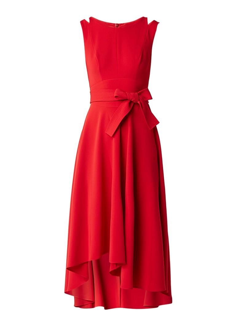 Karen Millen A-lijn jurk met strikceintuur en cut-out detail rood