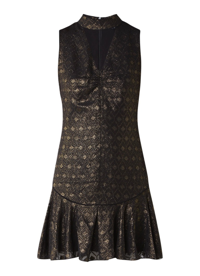 Karen Millen A-lijn jurk van jacquard met ruches zwart
