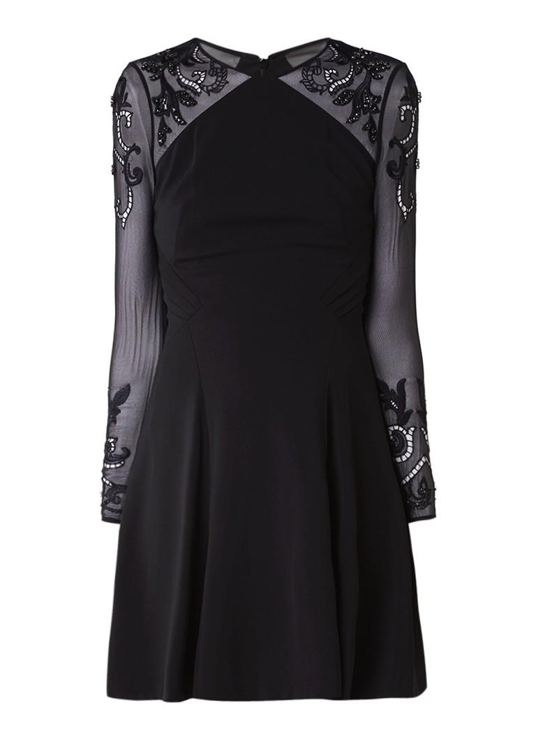 Karen Millen Embel A-lijn jurk met mouwen van kant zwart