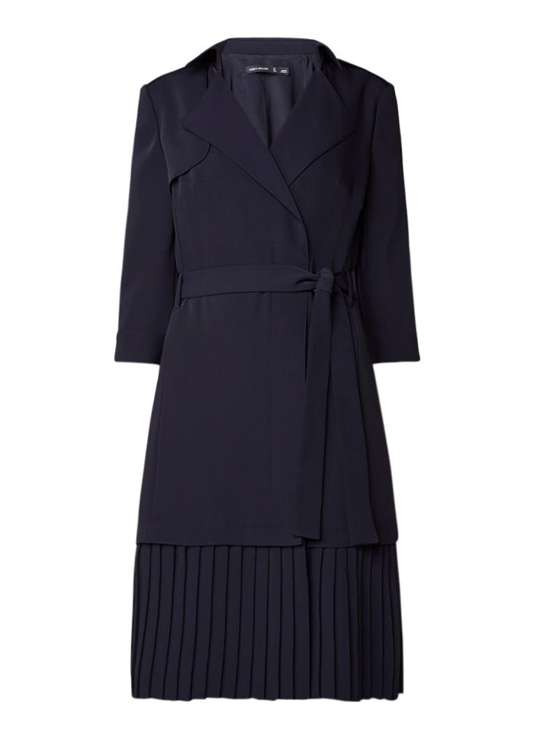Karen Millen Trenchcoat jurk met plissézoom donkerblauw