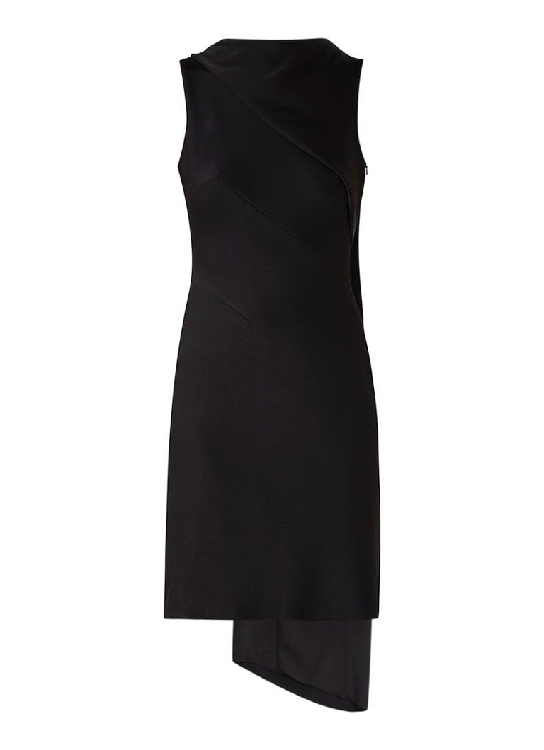 Karen Millen Jurk van satijn met draperie detail zwart