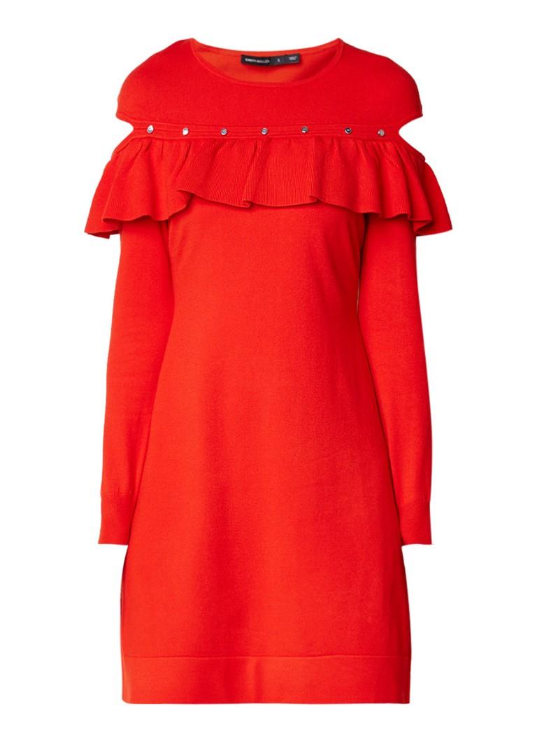 Karen Millen Mini-jurk met ruches en cut-outs rood