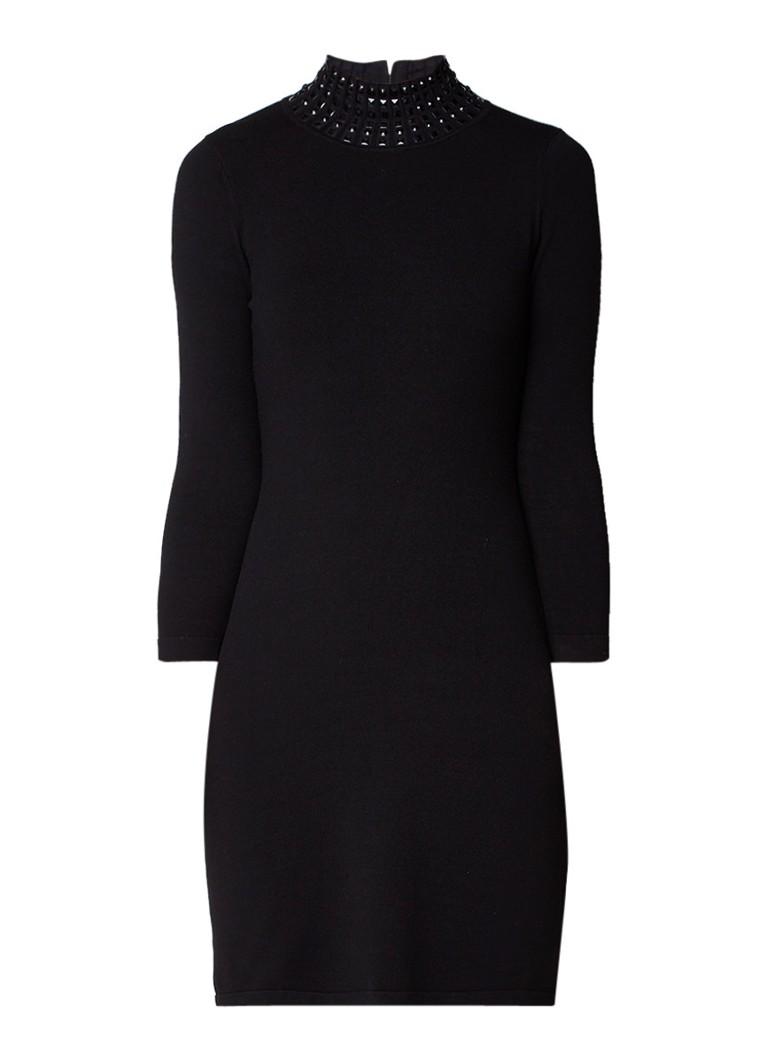Karen Millen Fijngebreide A-lijn jurk met strass zwart
