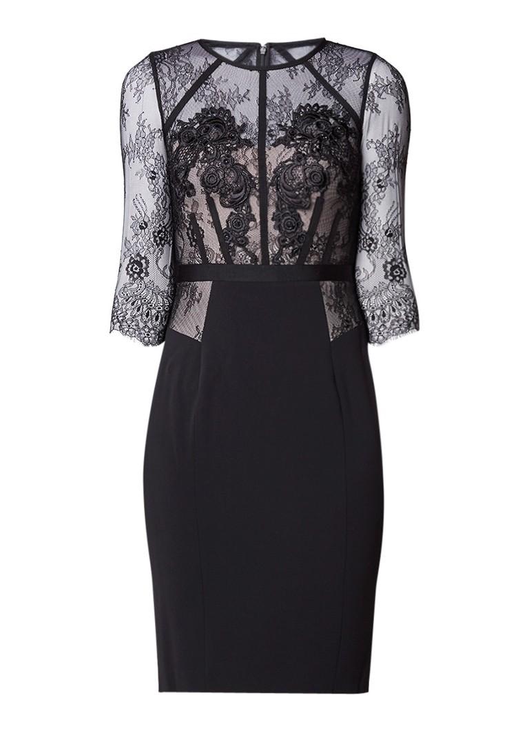 Karen Millen Bodycon jurk met strass en inzet van kant zwart