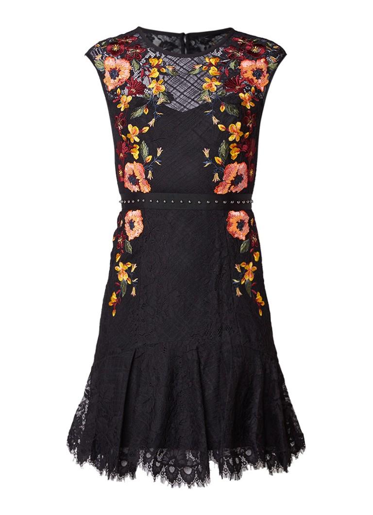 Karen Millen Mini-jurk van kant met borduring en pailletten zwart