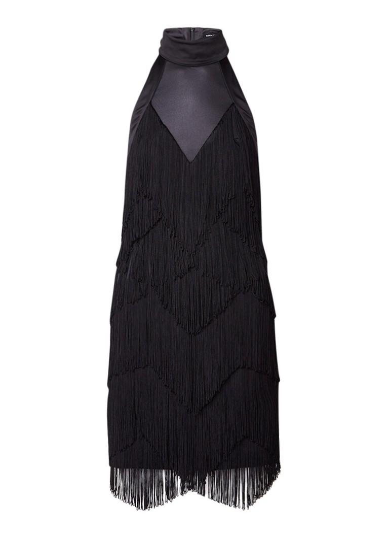 Karen Millen Jurk met semi-transparante inzet en fringes zwart