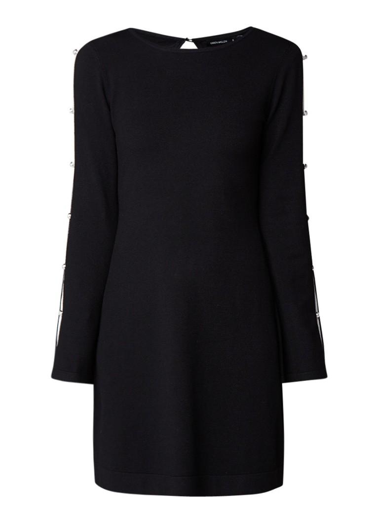 Karen Millen A-lijn jurk met opengewerkt mouw en imitatie parel detail zwart