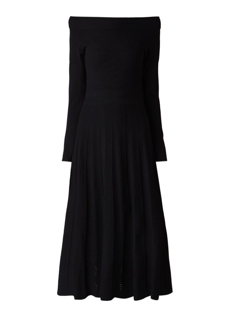 Karen Millen Fijngebreide A-lijn jurk met opengewerkte details zwart