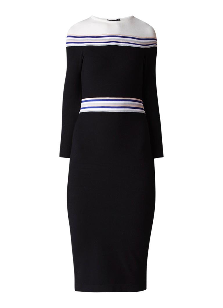 Karen Millen Fijngebreide midi-jurk met streepdetail zwart