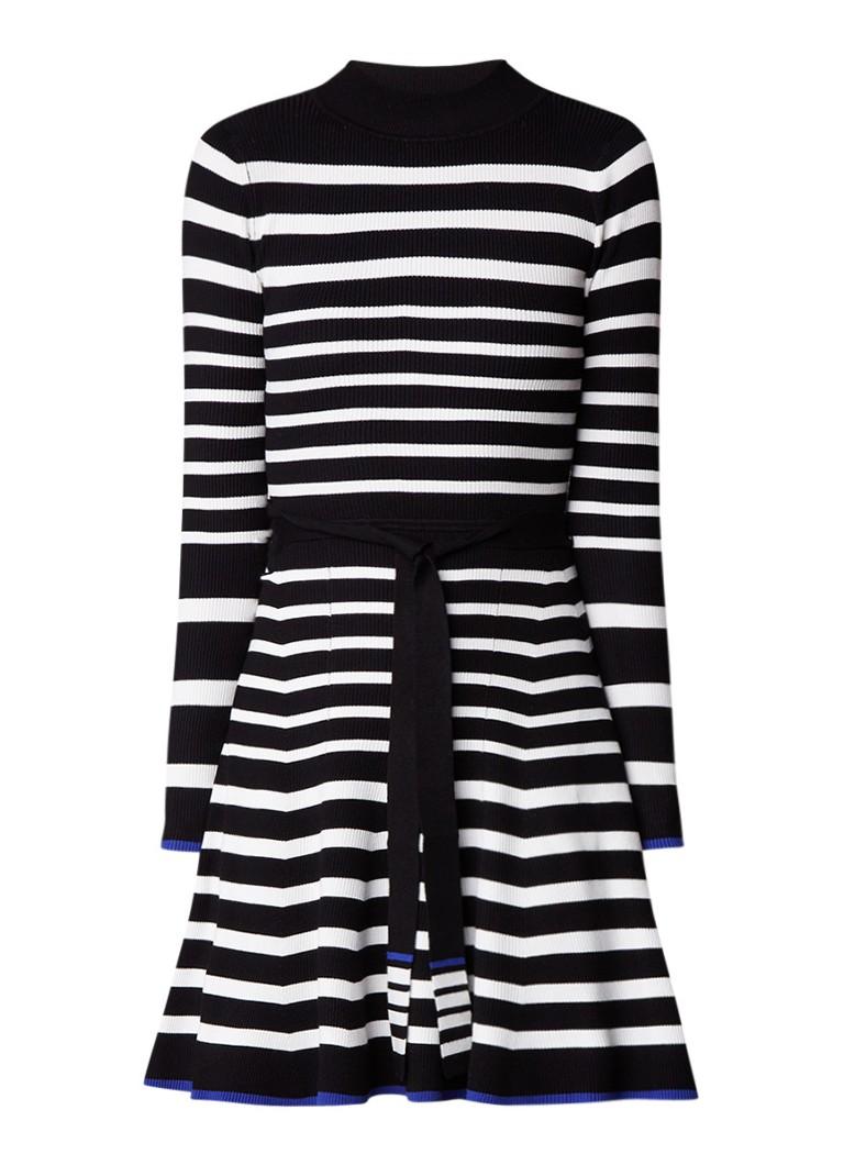 Karen Millen Ribgebreide A-lijn jurk met streepdessin en ceintuur zwart