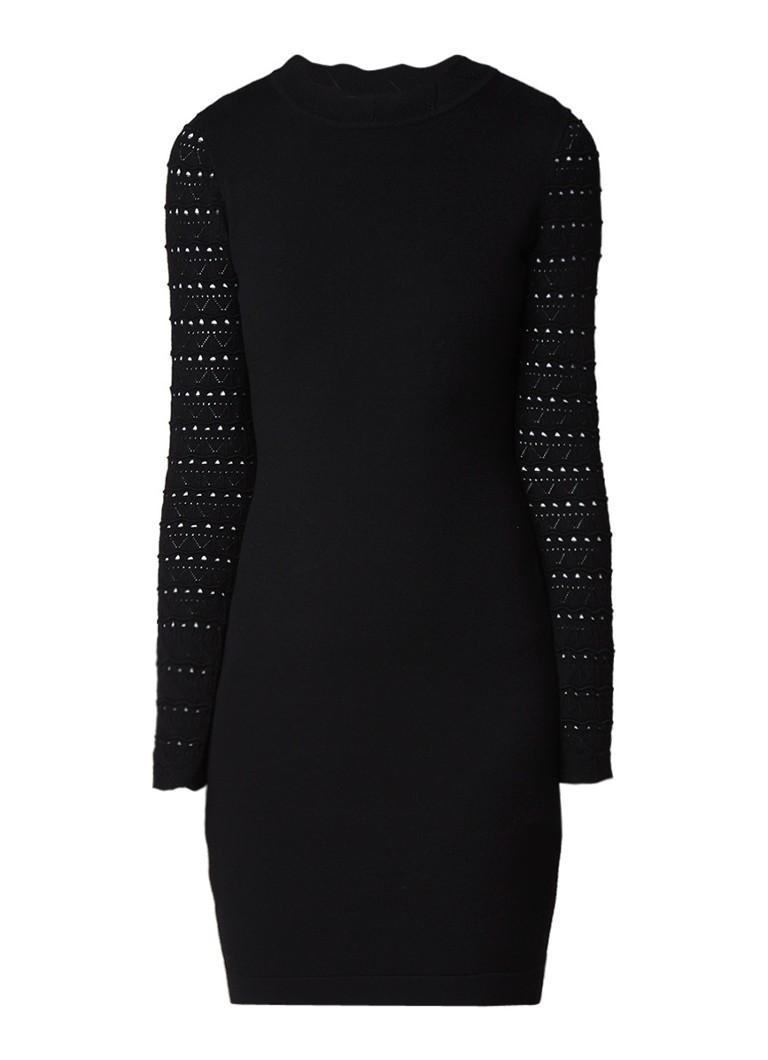 Karen Millen Fijngebreide jurk met opengewerkt dessin en contrasterende boord zwart