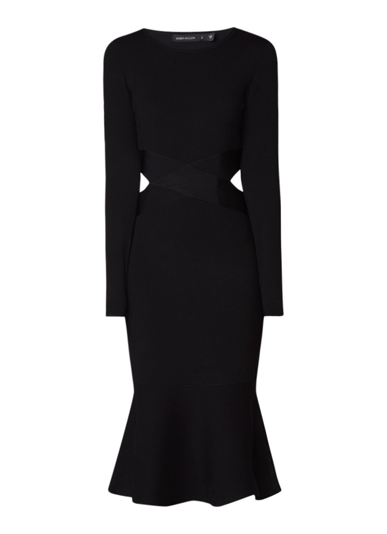 Karen Millen Ribgebreide midi-jurk met cut-outs zwart