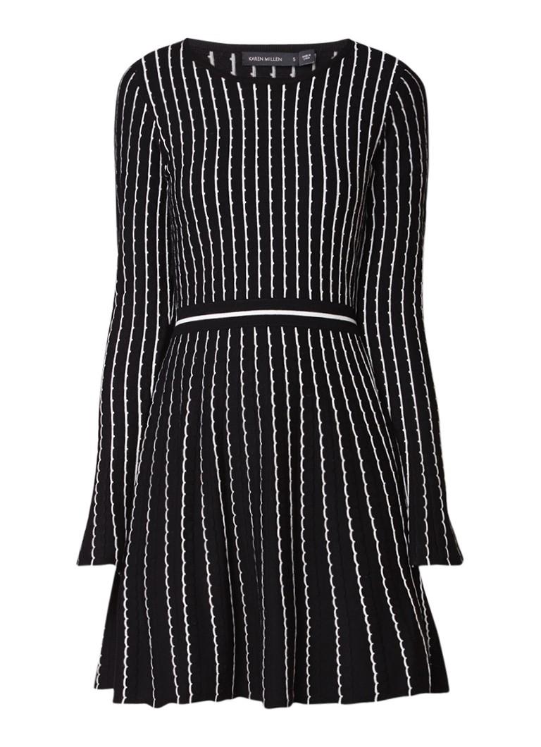Karen Millen A-lijn midi-jurk met ingebreide structuur en trompetmouw zwart