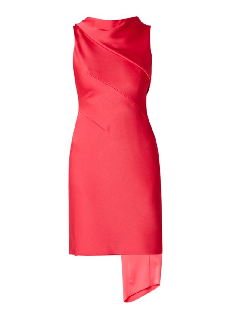 Karen Millen Midi-jurk van satijn met overslag en sleep roze