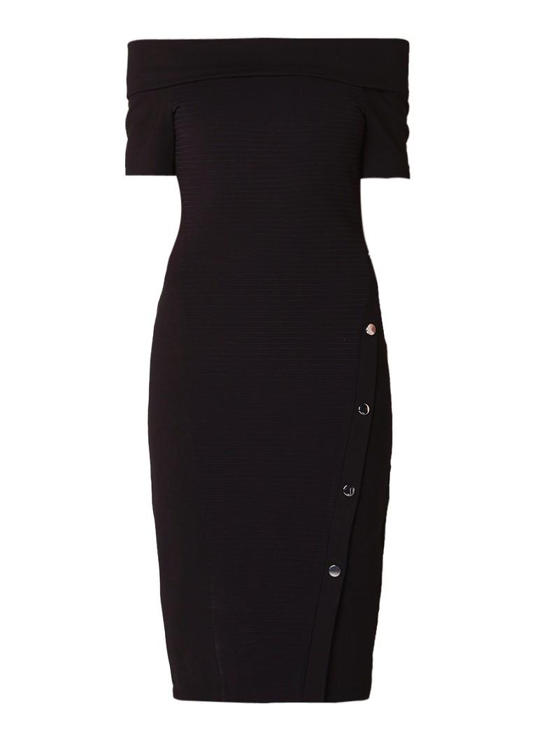 Karen Millen Off shoulder jurk met ribdetail en knoopdetail zwart
