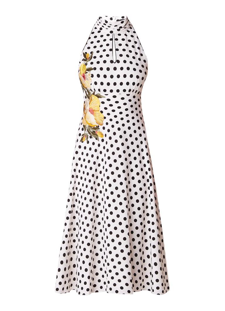 Karen Millen A-lijn jurk met stippendessin en bloemenborduring wit