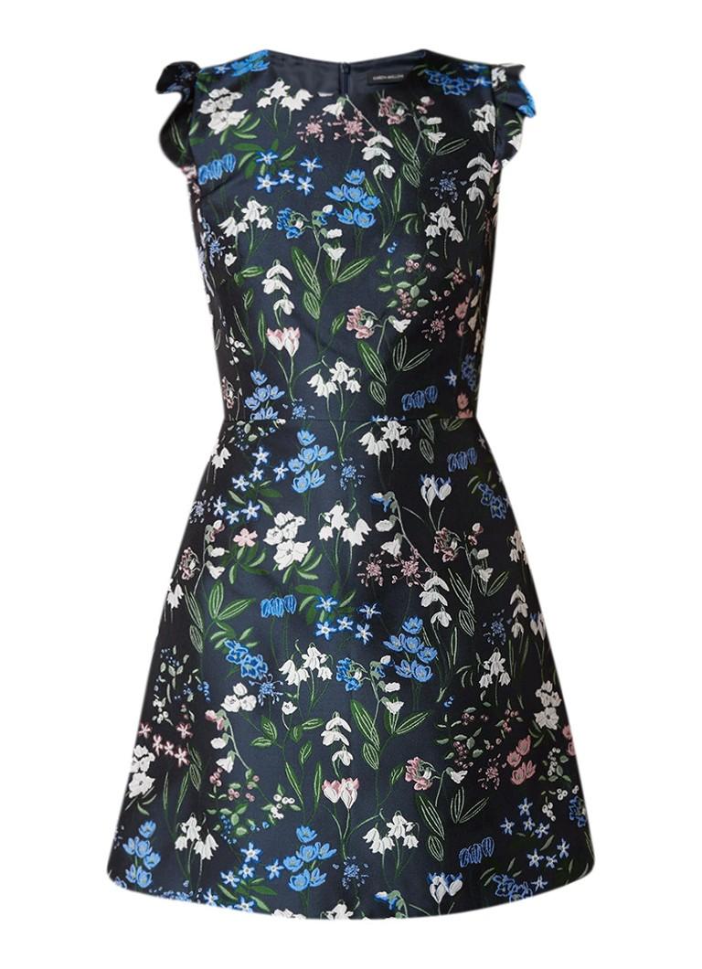 Karen Millen A-lijn jurk met botanisch dessin donkerblauw