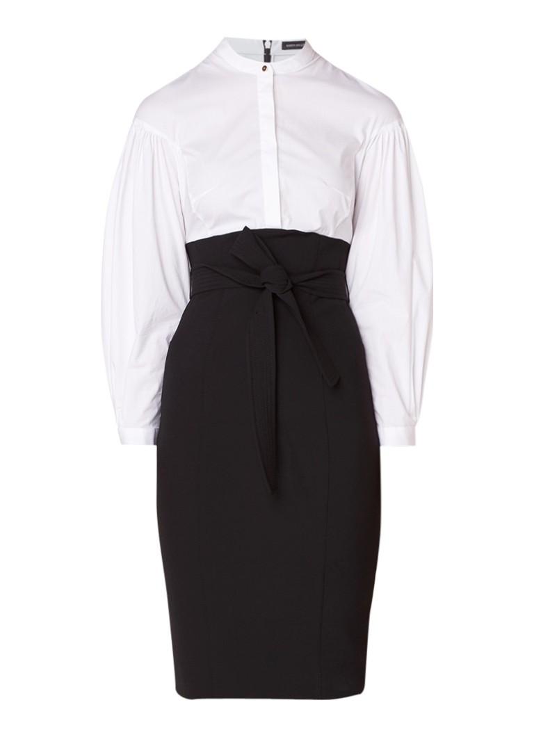 Karen Millen Kokerjurk met blousetop en strikceintuur zwart
