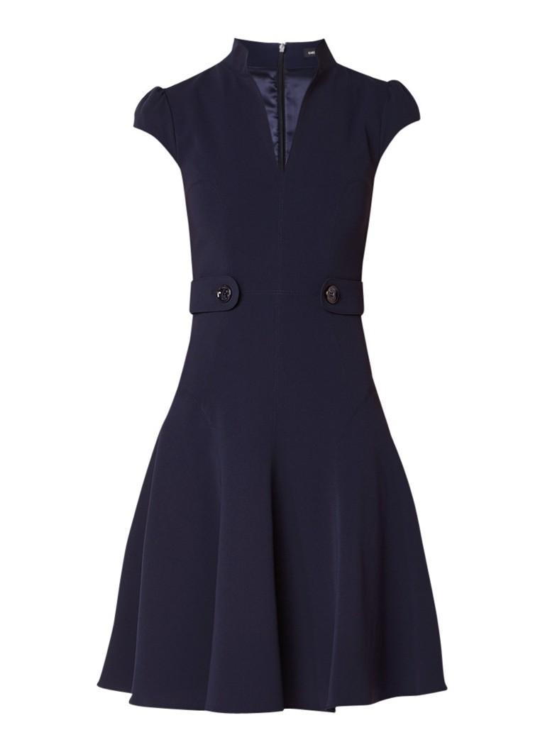 Karen Millen A-lijn jurk met knoopdetail en pofmouw donkerblauw
