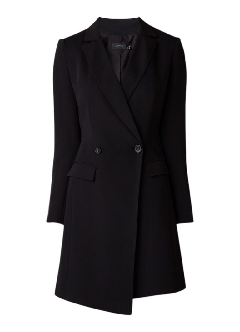 Karen Millen Jurk met schoudervulling en blazer look zwart