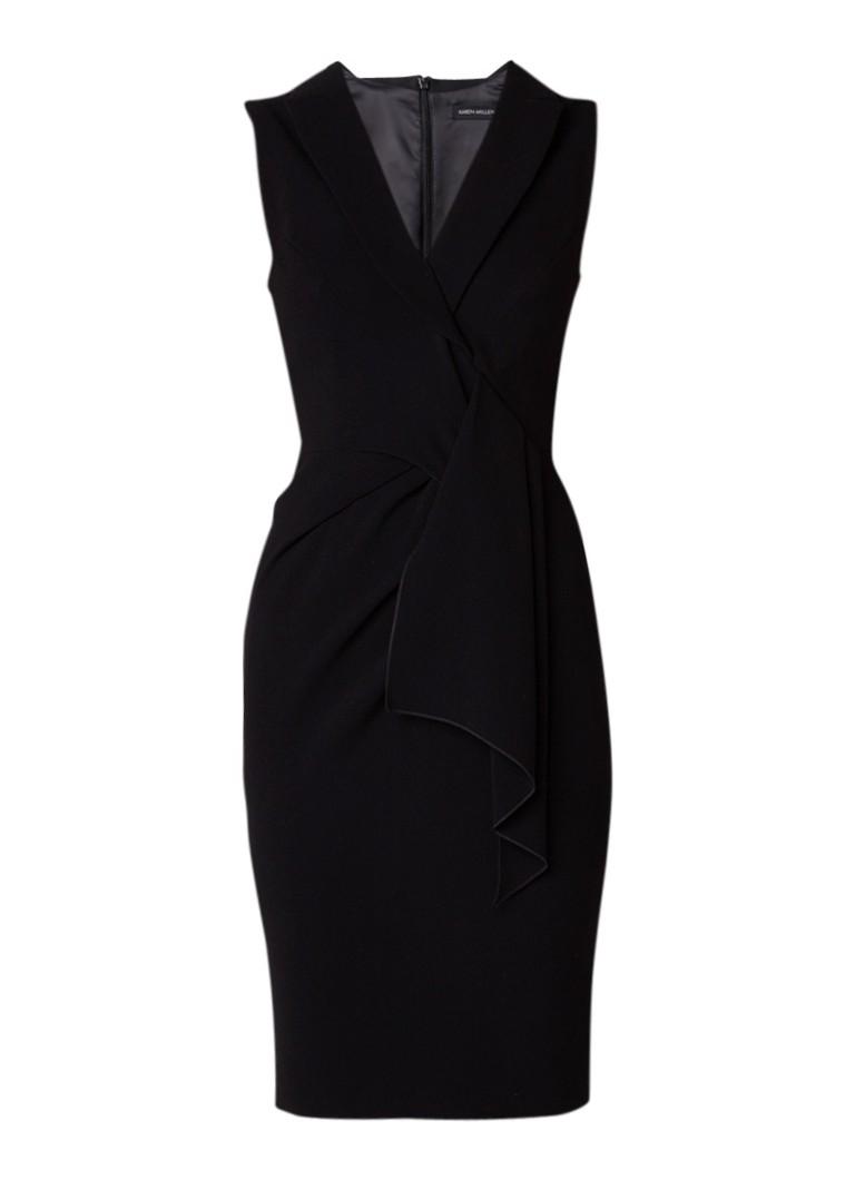 Karen Millen Mouwloze kokerjurk met draperie zwart