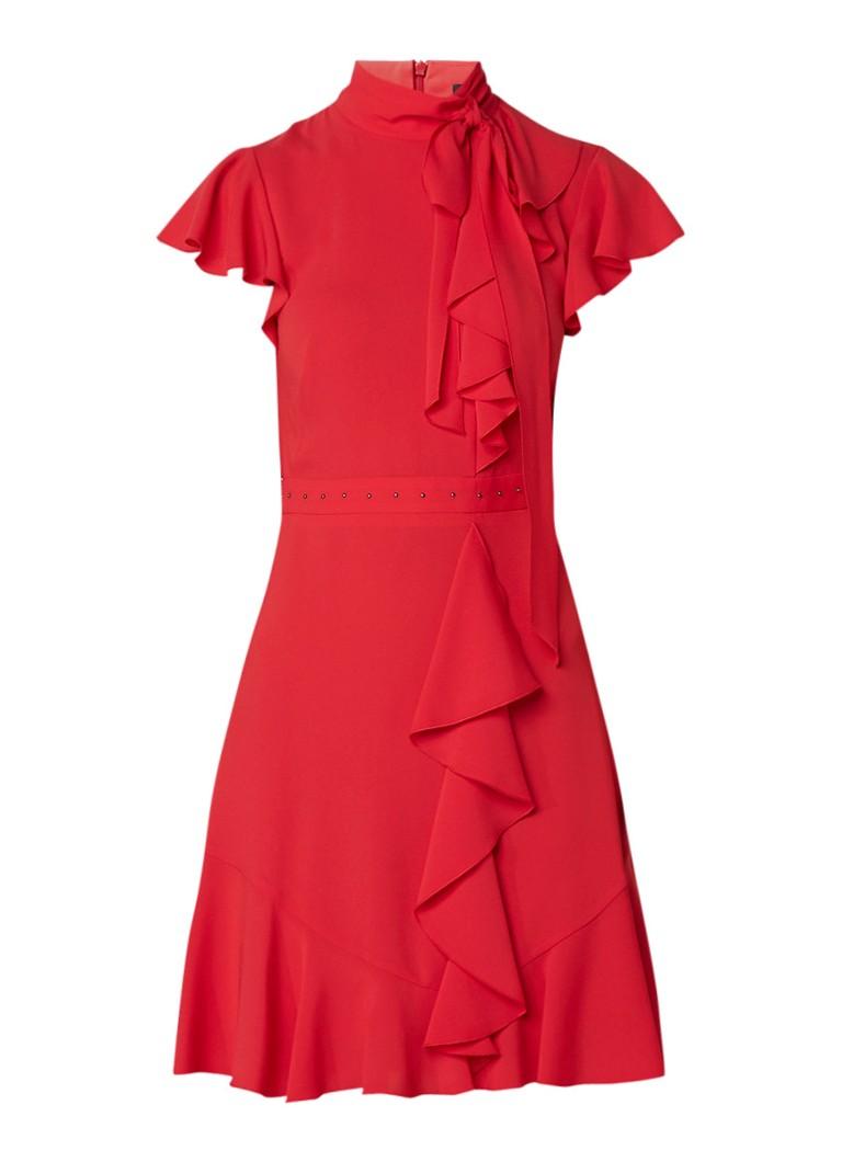 Karen Millen A-lijn jurk met ruches en studs rood