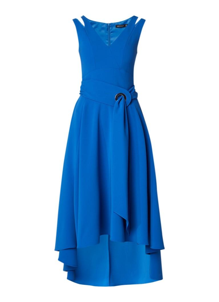 Karen Millen A-lijn jurk met V-hals en strikceintuur kobaltblauw