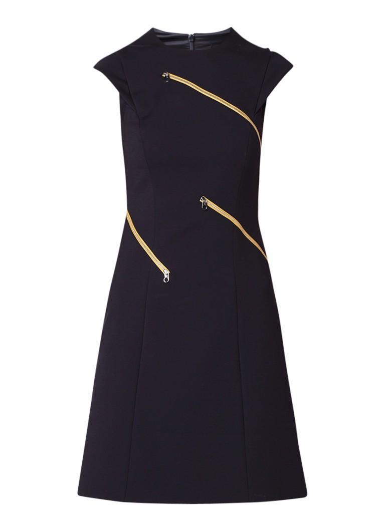 Karen Millen A-lijn jurk met ritsdetail en kapmouw donkerblauw