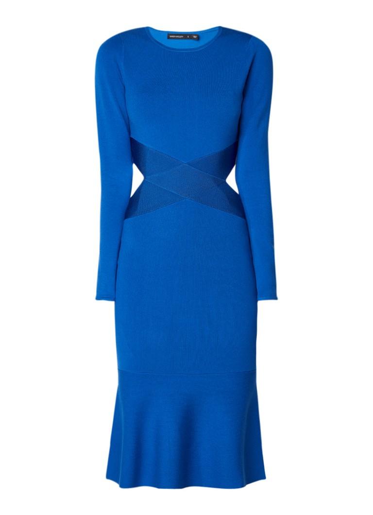 Karen Millen Fijngebreide midi-jurk met cut-out detail royalblauw