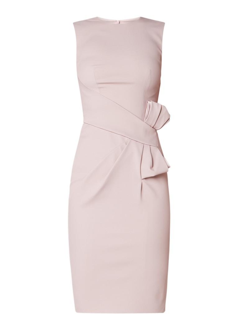 Karen Millen Mouwloze midi-jurk met structuur en strikdetail oudroze