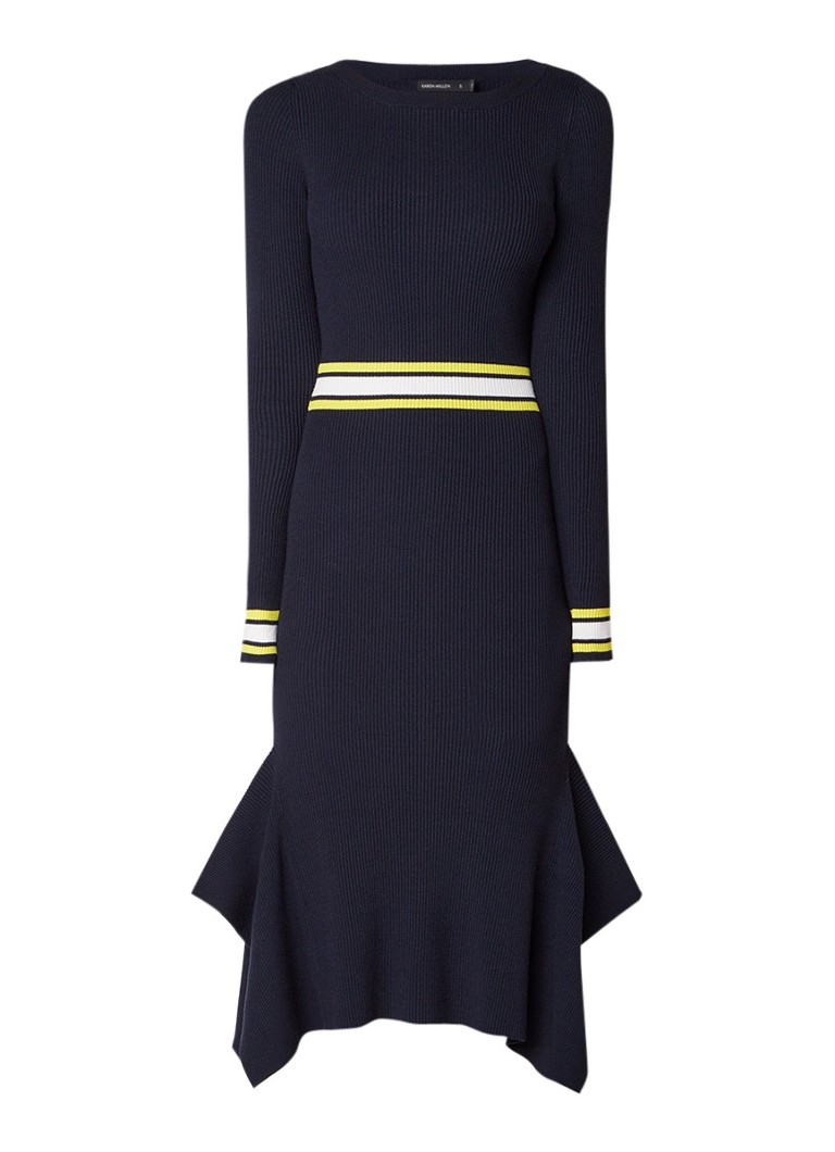 Karen Millen Ribgebreide midi-jurk met streepdetail donkerblauw