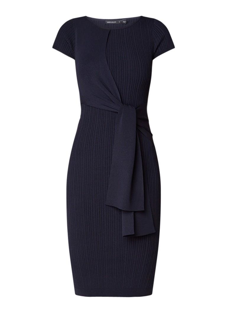 Karen Millen Fijngebreide midi-jurk met asymmetrisch strikdetail donkerblauw