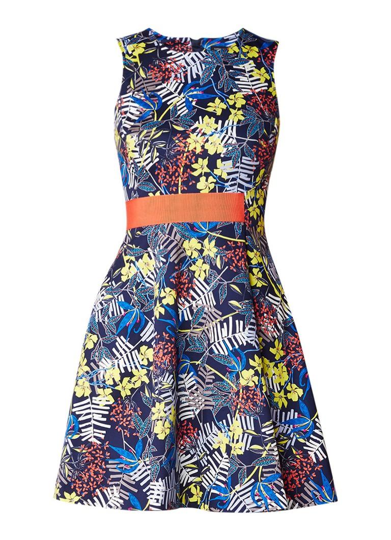 Karen Millen A-lijn jurk met bloemendessin en contrasterende tailleband donkerblauw