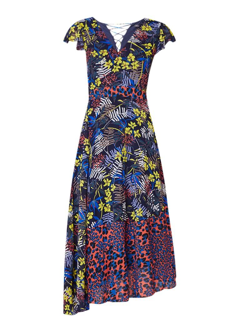 Karen Millen Midi-jurk van chiffon met bloemendessin en rijgdetail multicolor