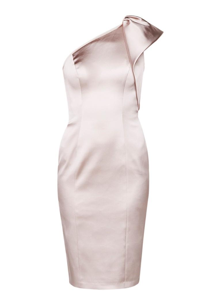Karen Millen One shoulder midi-jurk van satijn met volant oudroze